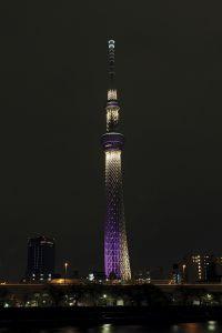 ライティングされた東京スカイツリー。淡いブルーの「粋」と、江戸紫の「雅」の2種類が、日替わりで点灯する