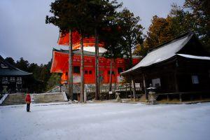 伽藍壇上の雪景色(注:暑い夏に雪景色を見るのも日本の文化)