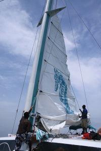 ナッソーの港から、カタマランに乗り込んで、沖合へ