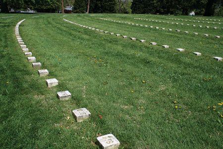 ゲティスバーグの国立墓地。無名の兵士の墓碑が並ぶ