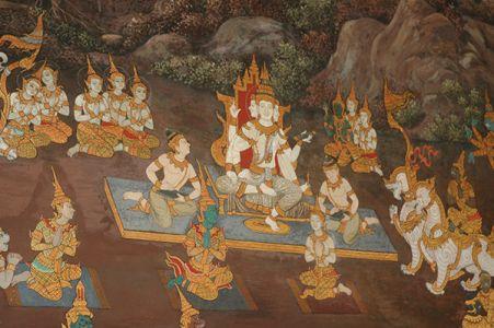 ラーマキエンの登場人物やシンボルは、旅行中、各地で目にした。特に、ワット・プラケオにある回廊壁画は有名