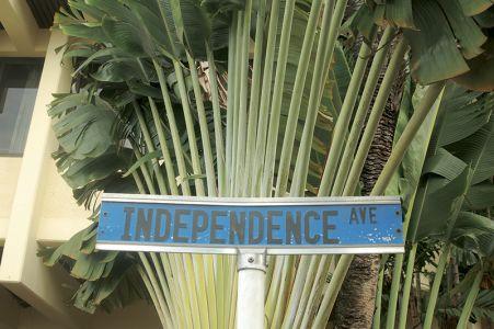 ダウンタウンにあるストリート。イギリスからの独立を祝って命名された