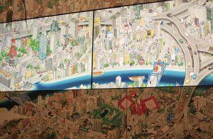 下層フロアにある「隅田川デジタル絵巻」。下町の風景と江戸の文化を描いた、全長45メートルのグラフィック。細部まで凝っていて、見飽きない