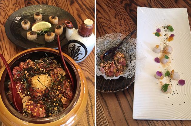 (左側)Tuna Poke, soy, chili oil, bamboo rice (右側)Toro Tartatre, prepared tableside(左)とFluke Sashimi, kumquat, yuzu vinaigrette Photo © Mirei Sato