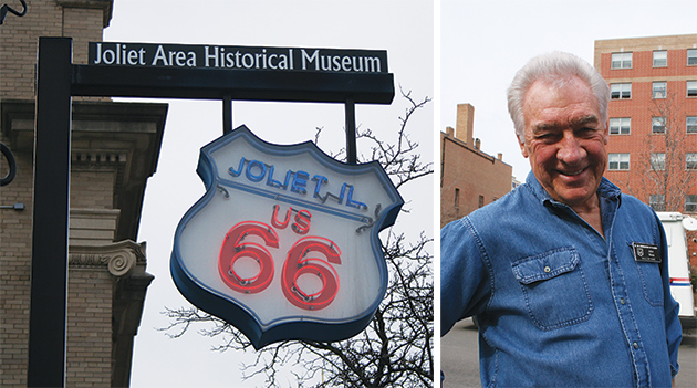 (右)ウェルカムセンターで迎えてくれた、イリノイ・ルート66協会のジョン・ワイスさん Photos © Mirei Sato