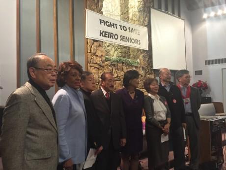 「敬老を守る会」のメンバーと支援する議員らは、あらためて「売却阻止」の目標を確認した Photo © Mirei Sato