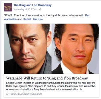 ブロードウエーで上演中の「王様と私」公式フェイスブックも、渡辺とキムの主演決定のニュースを伝えた