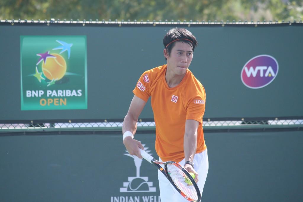 公開練習をする錦織圭選手=3月10日、インディアンウェルズ・テニスガーデン Photo © Mirei Sato