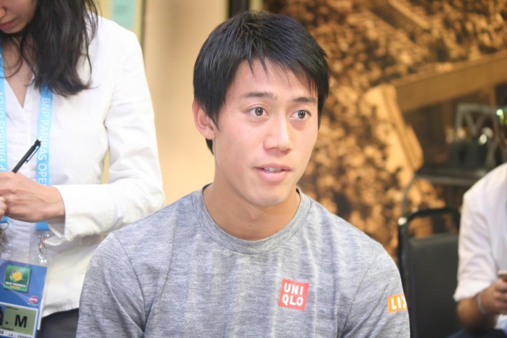 記者会見で抱負を語る、錦織圭選手=3月9日、インディアンウェルズ・テニスガーデンで Photo © Mirei Sato