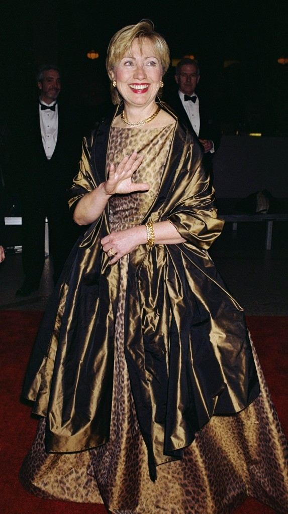 Oscar de la Renta Evening ensemble; dress and wrap 2002 Printed chiné silk taffeta On loan courtesy of Secretary Hillary Rodham Clinton (Richard Corkery/Getty Images)