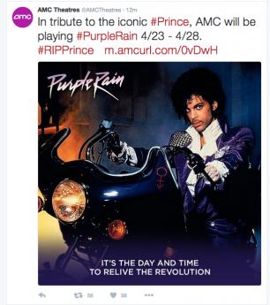 全米チェーンの映画館AMCは、ツイッターで「パープル・レイン」の特別上映を発表した