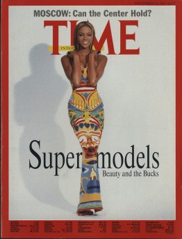 Naomi Campbell in Mizrahi's Totem Pole gown on the cover of Time magazine. September 16, 1991.  © 1991 Time Inc. Used under license.
