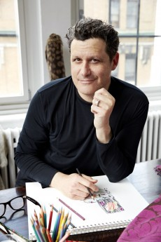 Isaac Mizrahi sketches a pattern from his 2013 luxury home furnishings textile collection for S. Harris. Photograph © Jason Frank Rothenberg for Fabricut