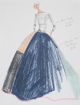 Isaac Mizrahi, sketch for Elevator Pad Gown, spring 2005. Photograph by Richard Goodbody, the Jewish Museum, New York