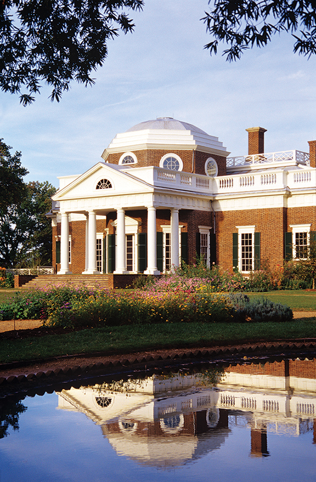 トーマス・ジェファーソンの屋敷、West Frontの眺め © Thomas Jefferson Foundation at Monticello, photograph by Mary Porter