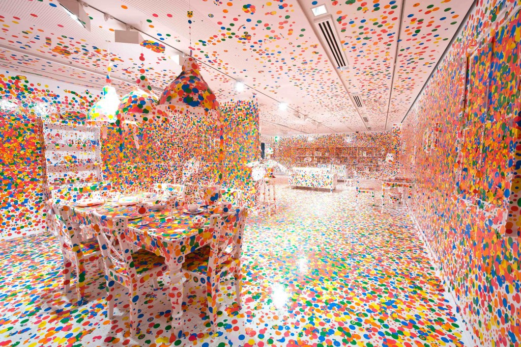 Yayoi Kusama The Obliteration Room, 2002 to present Furniture, white paint, and dot stickers Dimensions variable Collaboration between Yayoi Kusama and Queensland Art Gallery. Commissioned Queensland Art Gallery, Australia. Gift of the artist through the Queensland Art Gallery Foundation 2012. Collection: Queensland Art Gallery, Brisbane, Australia Photograph: QAGOMA Photography