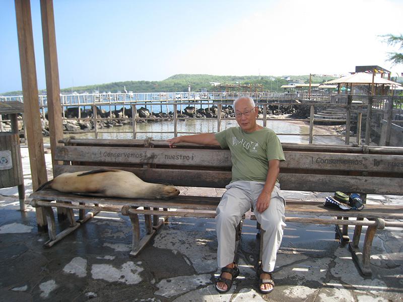 アシカが寝そべるベンチに座る矢田さん(サンクリストバル島) Photo © Kaz Takahashi