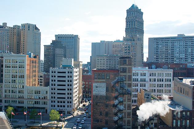 デトロイト・ダウンタウンの中心部。地元の人は、愛情を込めて「The D」と呼ぶ Photo © Mirei Sato