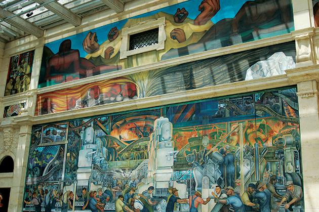 一度は見るべし、ディエゴ・リベラの壁画「Detroit Industry」。フォード自動車工場をモデルに、産業の近代化に対する鋭い批評も込めた傑作だ Photo © Mirei Sato