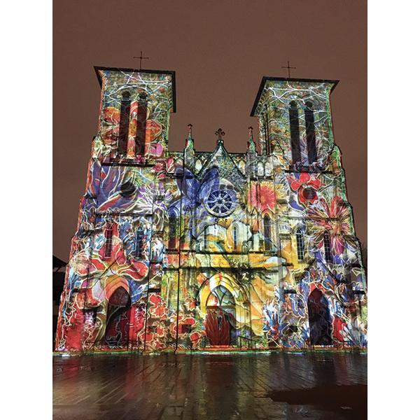 サンフェルナンド大聖堂の壁に投影されるビデオアート「San Antonio / The Saga」Photo © Mirei Sato