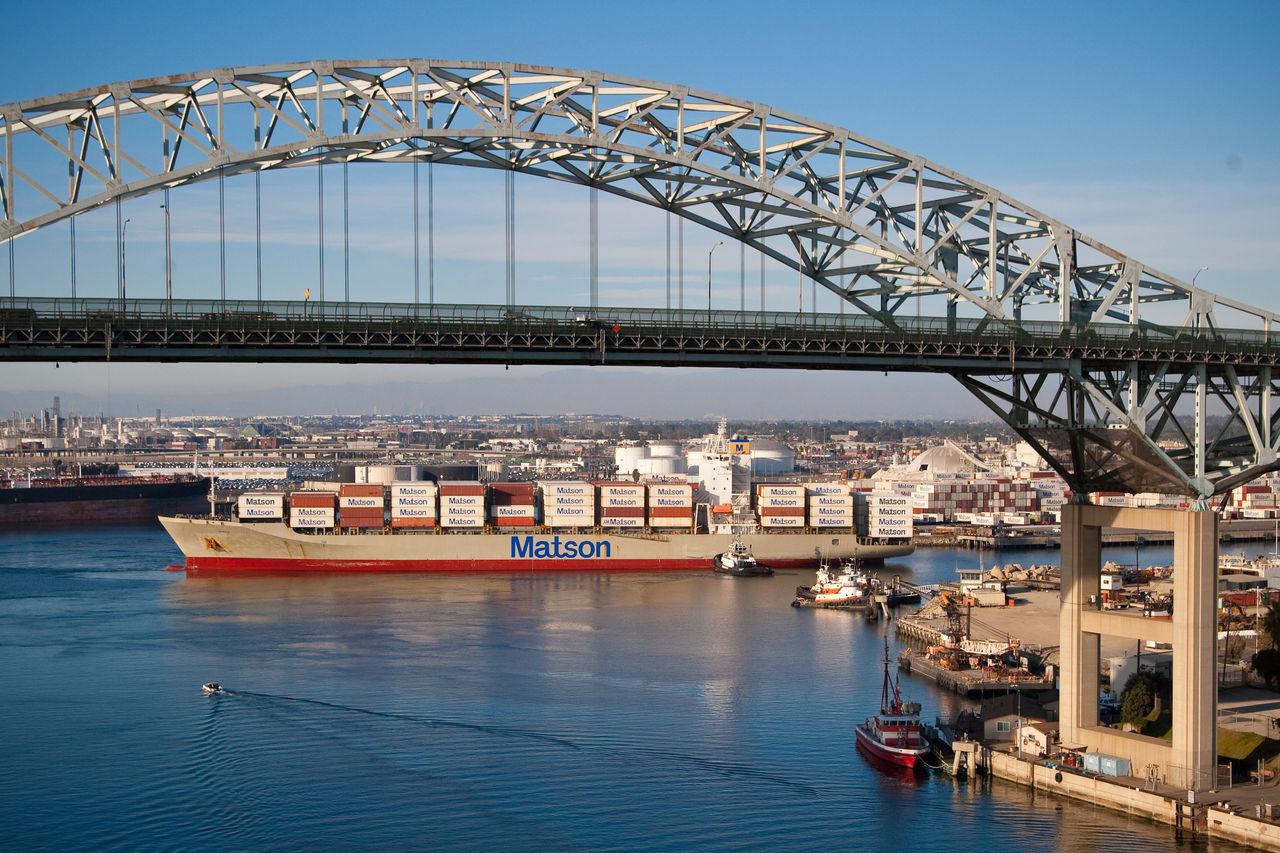 Aerial photographs of Matson Ship coming into POLB. November 2009.