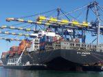荷役中の日本郵船の船